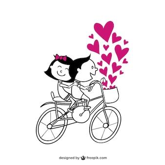 Couple romantique à vélo
