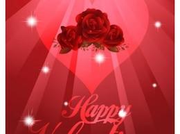 Romantisme fond rouge avec des roses et le coeur
