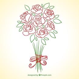 roses dessinés à la main bouquet