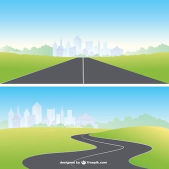 Route droite et courbe