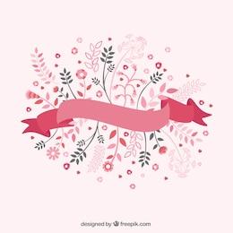 Ruban avec des fleurs dans les tons roses