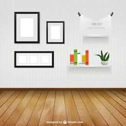 Salle intérieure avec des cadres muraux et étagères