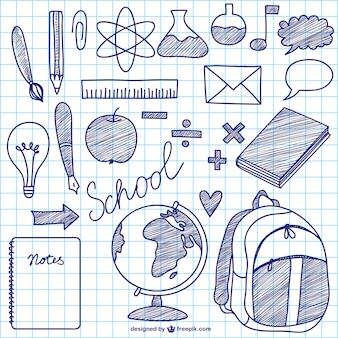 éléments d'encre de vecteur d'école