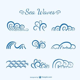 Vagues de la mer croquis