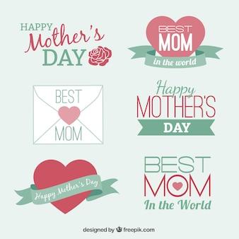 Ensemble de mignons éléments de conception des badges pour la fête des mères