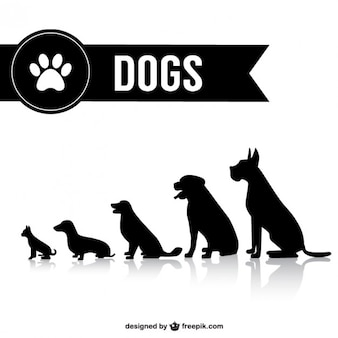 Shilouettes chien vecteur ensemble