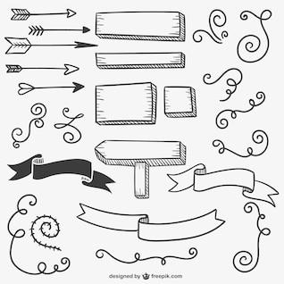 Signes calligraphiques et des flèches