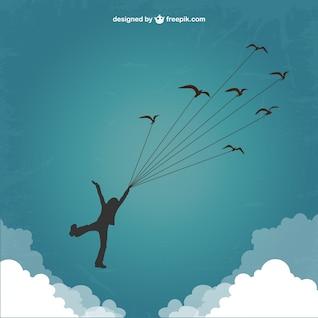 Silhouette de garçon de voler avec les oiseaux