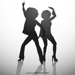 Silhouettes de disco party girl