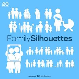 Silhouettes de la famille de pack vecteur