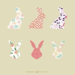 silhouettes de lapin avec des motifs