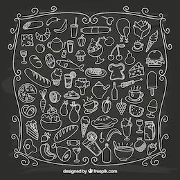 Sketchy alimentaire sur le tableau noir