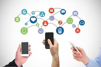 Smartphones partageant des informations avec leurs applications