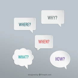 Speech bubbles des questions
