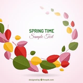 Spring background avec des feuilles colorées