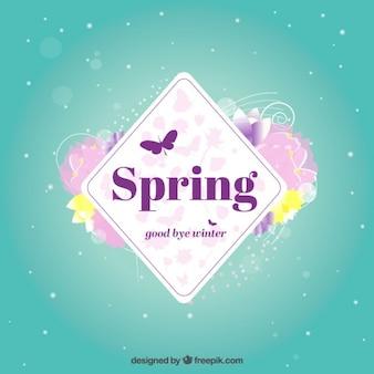 étiquette de printemps avec des fleurs
