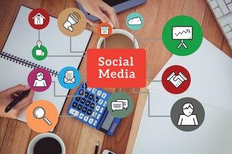 Structure des médias sociaux avec des icônes colorées