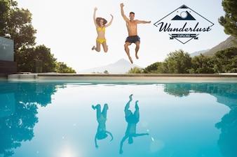 Style de vie d'inspiration logo de vacances de ciel clair