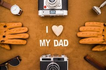 Surface avec différents types d'éléments du jour du père