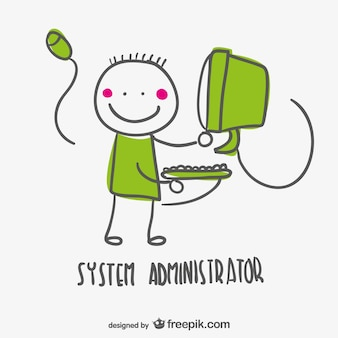 Administrateur système bande dessinée de vecteur