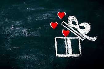 Tableau noir valentines signe jour forme de coeur surprise