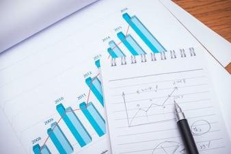 Tableaux financiers avec un crayon sur la table