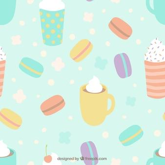 Tasses et macarons motif