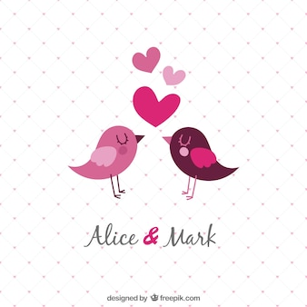 Invitation de mariage de modèle avec des oiseaux