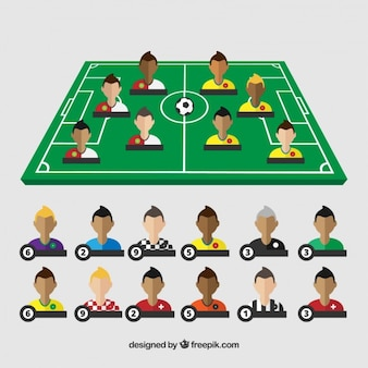 Terrain de football avec des joueurs