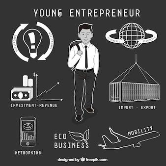 Tiré par la main jeune entrepreneur