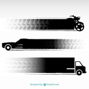 Traces de pneus de véhicules de transport fixés