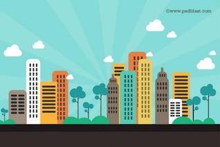 Toits de la ville sur psd - aplats de couleurs