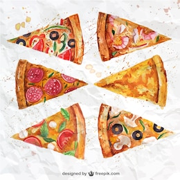 tranches de pizza Aquarelle