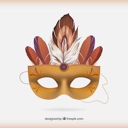Turquoise masque de carnaval avec des plumes