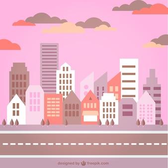 Crépuscule panorama de la ville graphique