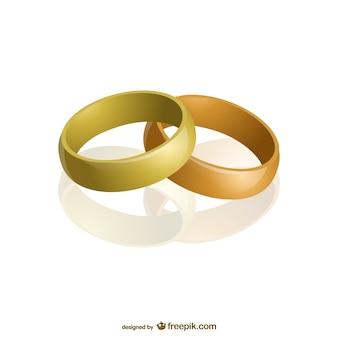Deux anneaux d'or vecteur