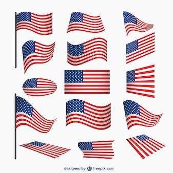 Usa drapeaux vecteur ensemble