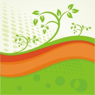 Vagues vert et orange avec des éléments floraux