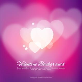 Valentine background avec des coeurs floues blanches