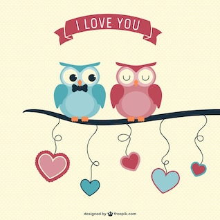 Valentine carte hiboux