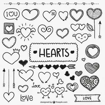 Valentine doodle coeurs