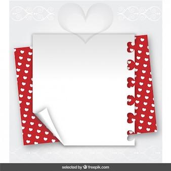 Valentine note avec coeurs