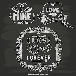 Valentine ornements de tableau noir