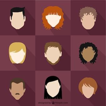 Variété de personnes avatars