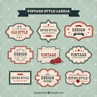Variété de vintage labels