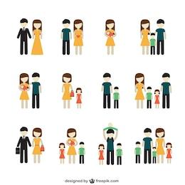 Variété des icônes de la famille