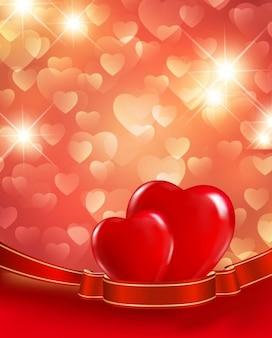 Vecteur de fond de coeurs rouges
