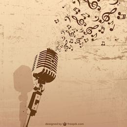 Vecteur de microphone musique rétro