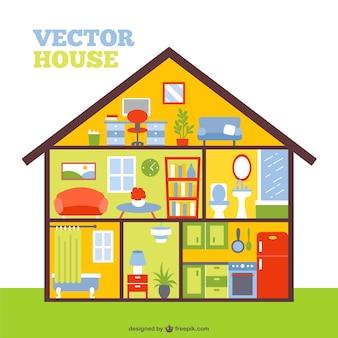Vecteur maison colorée dans une coupe