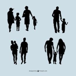 Vecteur silhouettes de la famille